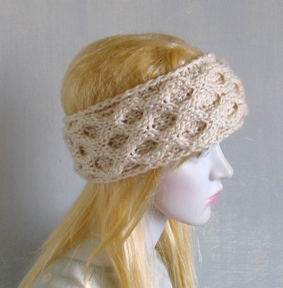 Hippie Headband Knitting Pattern : Ivory Bohemian Knitted Headband Boho Ear Warmer Free Spirited