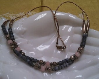 Blue, Silver Tone and Pink Bead Double Strand Necklace