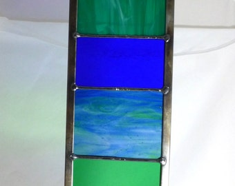 Stained Glass Garden Ornament Architectural Panel Large in Ocean Blue, Teal and Aquamarine MTO