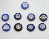 Nine Antique China Buttons - Antique Blue and White Four-Hole China Buttons