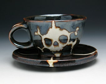 Skull Cup & Saucer, Skull and Crossbones Teacup and Saucer