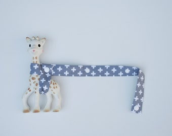 Toy Strap - Grey with White Crosses with white snaps