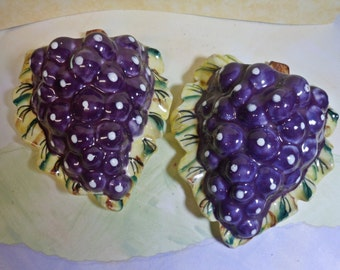 Vintage Pair of Grape Cluster Wall Pockets