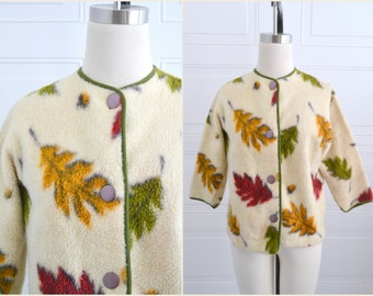 1950s Autumnal Leaf Fleece Jacket