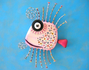 Pale Pink Guppy, MADE to ORDER, Original Found Object Wall Sculpture, Wood Carving, Wall Decor by Fig Jam Studio