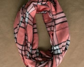 Cotton Infinity Scarf - Pink White Black Plaid - Brushed woven cotton flannel - ready to ship