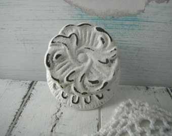 cottage chic hook dresser handle closet hook shabby decor cottage white wall hook distressed handle french country hook distressed hook