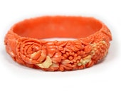 Coral Celluloid Bangle - Floral Design - Beautifully Detailed