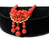 Gorgeous Lipstick Red Bead Choker with Dangles - West Germany 1950s