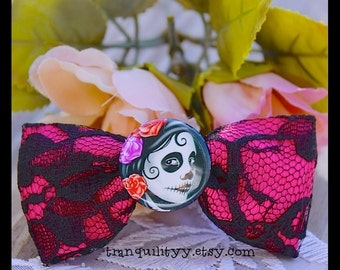 Sugar Skull Hair Bow,  Day Of The Dead Lace Hair Bow, Gothic, Hipster, Scene, Lolita By: Tranquilityy