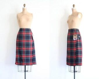 20% SALE vintage plaid tartan Scottish kilt - ladies kilt / Moffat Weavers - Blue Stewart tartan skirt / Scotland - new old stock