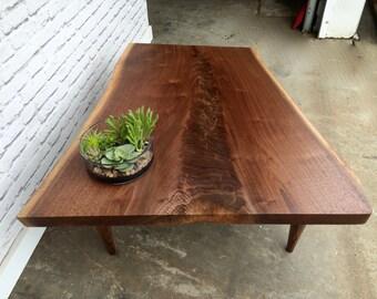 Live Edge Walnut Coffee Table - In Stock!