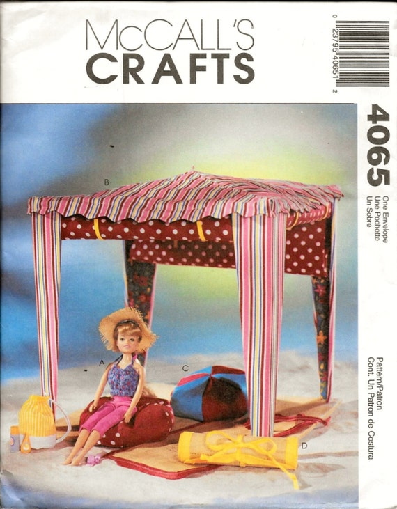 McCalls 4065 Fashion Doll 115 Pattern Accessories Clothes Cabana Beach Mat Chair Bean Bag From VintagePatternStore On Etsy Studio