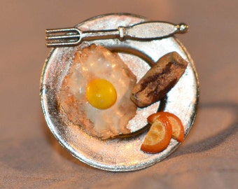 kawaii miniature with breakfast Ring - Adjustable Ring - Food Jewelry. Polymer clay