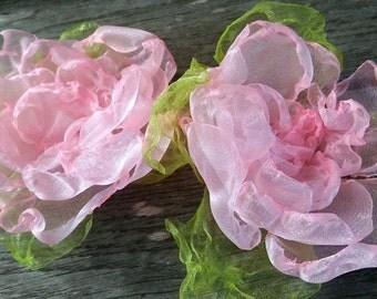Pink flower pin, hair pin, Bridesmaid Hair Pin Set, Wedding flower pin, pink hair flower, teenager hair pin, girl, woman
