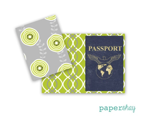 Passport Cover - Heavy Vinyl with Card stock Insert - Fits US Passport - Double sided design- Passport Cover Vinyl Cover, -Limetree