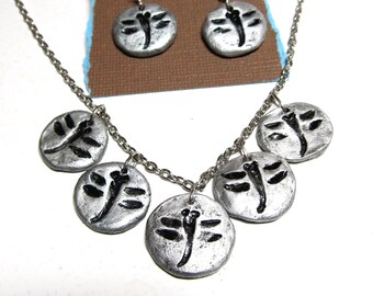 Dragonfly Necklace and Earring Set in Silver Color Impression in Clay