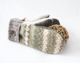 Felted Wool Mittens EARTH TONES Green Fair Isle with Brown Gloves Upcycled Sweater Mittens Fleece Lined Christmas Sweater by WormeWoole