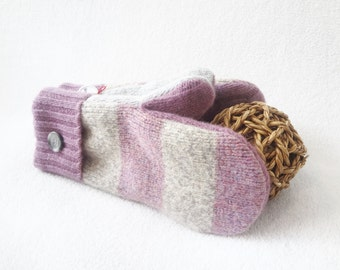 Purple Mittens LAVENDER & GREY Striped / Felted Sweater Wool Mittens / Fleece Lined Gloves / Stocking Stuffer Gift Under 50 by WormeWoole