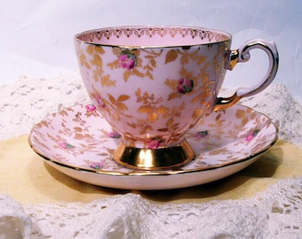 """Vintage Tuscan England """"Sunshine"""" Pink and Gold Chintz Tea Cup and Saucer - Four Available"""