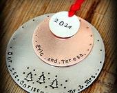 SALE Mr and Mrs Ornament - Christmas ORnament - Our First Christmas - Newlywed Ornament - Mr and Mrs- Wedding Ornament - Wedding Gift- Ornam