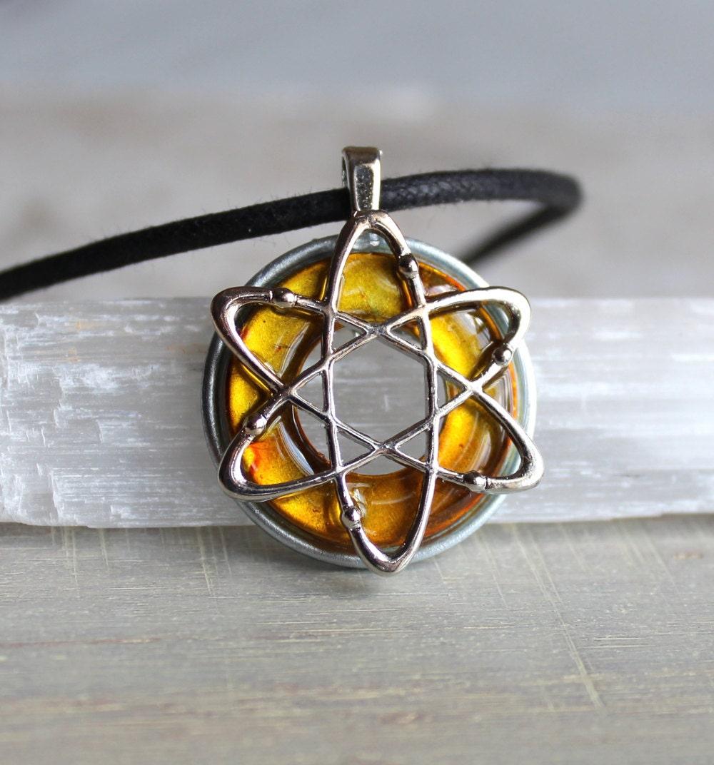 Yellow Atom Necklace Science Jewelry Chemistry Necklace