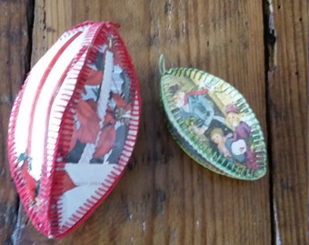Two (2) Vintage Hand Sewn Paper Christmas Ornaments