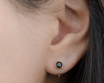 Black Spinel Hug Hoops, Sterling Silver Gold Plated, Open Hoop Earrings, Minimalist Jewelry, Handmade  Gift, Lunaijewelry, EAR041BSP