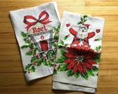Set of 2 vintage Christmas tea towels