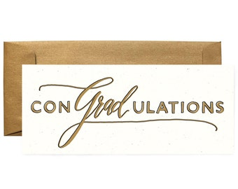 No 10 Congratulations Graduation conGRADulations greeting card - metallic envelope - perfect size for check or cash