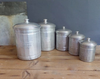 vintage 5 french white metal aluminium canisters containers