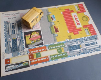 Vintage FRENCH 1950s cut out and make a train station and train   Lovely decorating print