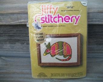 Arnie the Armadillo, Jiffy Stitchery, Vintage Craft Kit