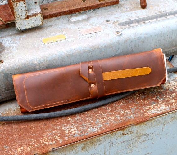 Leather knife roll - Small - Brown pull up