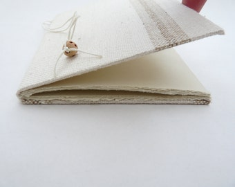 Natural notebook, journal, linen, bead, recycled, single signature, A6