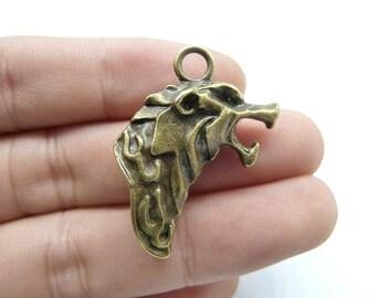 5pcs 20x34mm Antique Bronze 3D Wolf Head Charms Pendant C8251