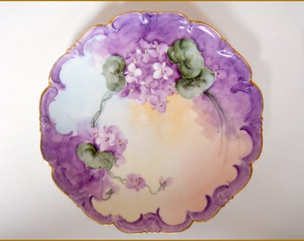 Antique Porcelain Display Plate Hand Painted Purple Violets  c.1900 - SALE