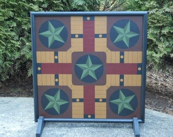 """19"""", Parcheesi, Game Board, Wood, Primitive, Folk Art, Wooden, Game Boards, Hand Painted, Board Game"""