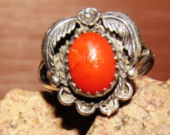 Vintage Sterling Silver Native American Orange Quartz Ring