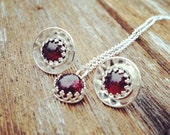 Garnet Birthstone Jewelry Set, Sterling Silver and Garnet Pendant and Earrings, January birthstone jewelry