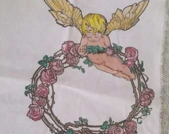 Hand Painted Fabric Panel, Angel, Cherub, Unfinished, Cottage