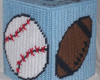Let's Play Ball Tissue Box Cover Plastic Canvas Pattern