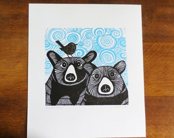 Bears & Wren, Original Linocut Print, Signed Open Edition, Free Postage in UK, Hand Printed, Printmaking,
