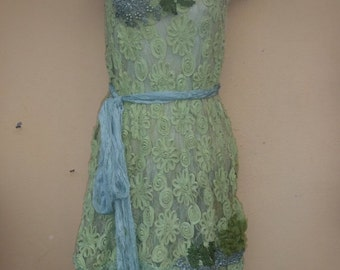"""20%OFF vintage inspired double layered green ribbon embellished dress,,,medium to 44"""" bust..."""