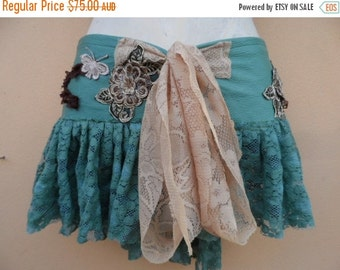 """20%OFF vintage inspired extra shabby wrap mini/belt..a work of art 40"""" across plus ties."""