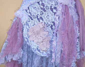 "20%OFF vintage inspired extra shabby wrap skirt...a work of art 42"" across plus ties."