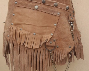 "20%OFF bohemian tribal gypsy fringed leather belt..34"" to 44"" waist or hips.."