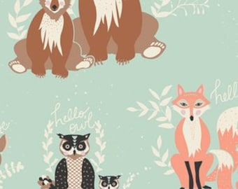 Changing Pad Cover - Oh Hello in Meadow - Contoured, Mint, Coral, Brown, White, Grey, Woodland, Forest, Deer, Bear, Owl, Fox, Raccoon
