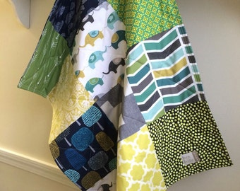 Small Baby Quilt - Cradle Quilt - Baby Shower Gift, Baby Bedding, Teal, Grey, Mint, Navy, Baby Blanket, Car Seat Quilt,  Ready to Ship