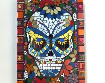 Mosaic Dia de los Muertos Skull Art, Mosaic Art, Day of the Dead art, Butterfly Skull